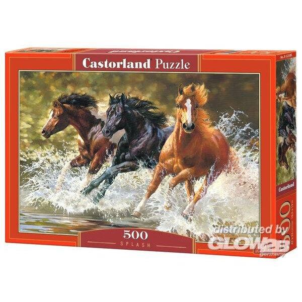 Drei Pferde, die in das Wasser galoppieren Puzzle 500 Stück