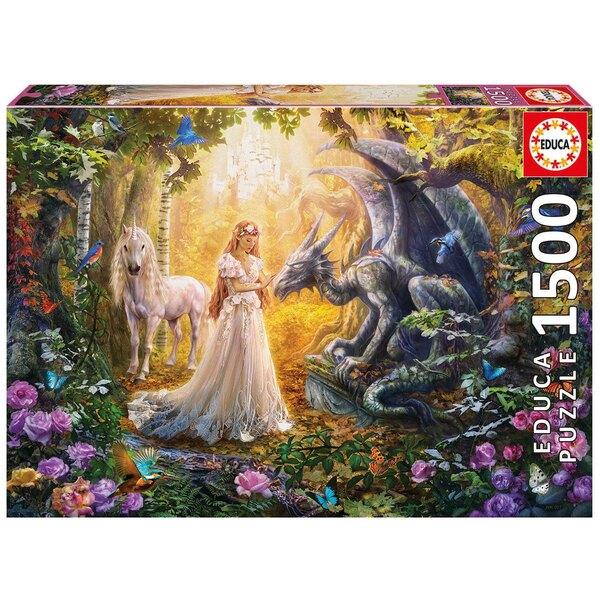 Drachen, Prinzessin und EInhorn  Puzzle 1500 Stück