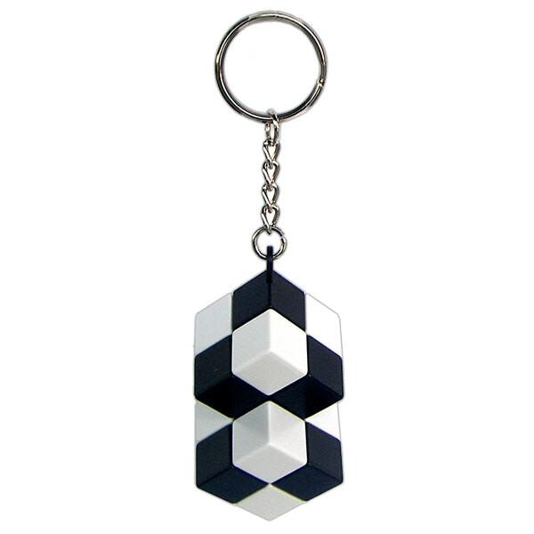 Doppelwürfel Schlüsselanhänger - Einzelclip - schwarz und weiß