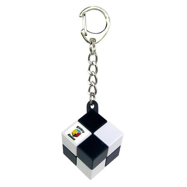 Einfacher Cube-Schlüsselanhänger - Karabiner-Clip - schwarz und weiß