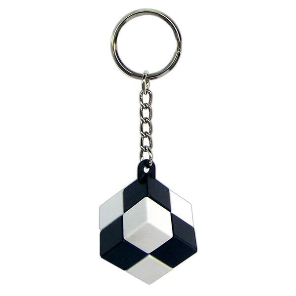 Einfacher Würfel Schlüsselanhänger - einfaches Verschluss - schwarz und weiß